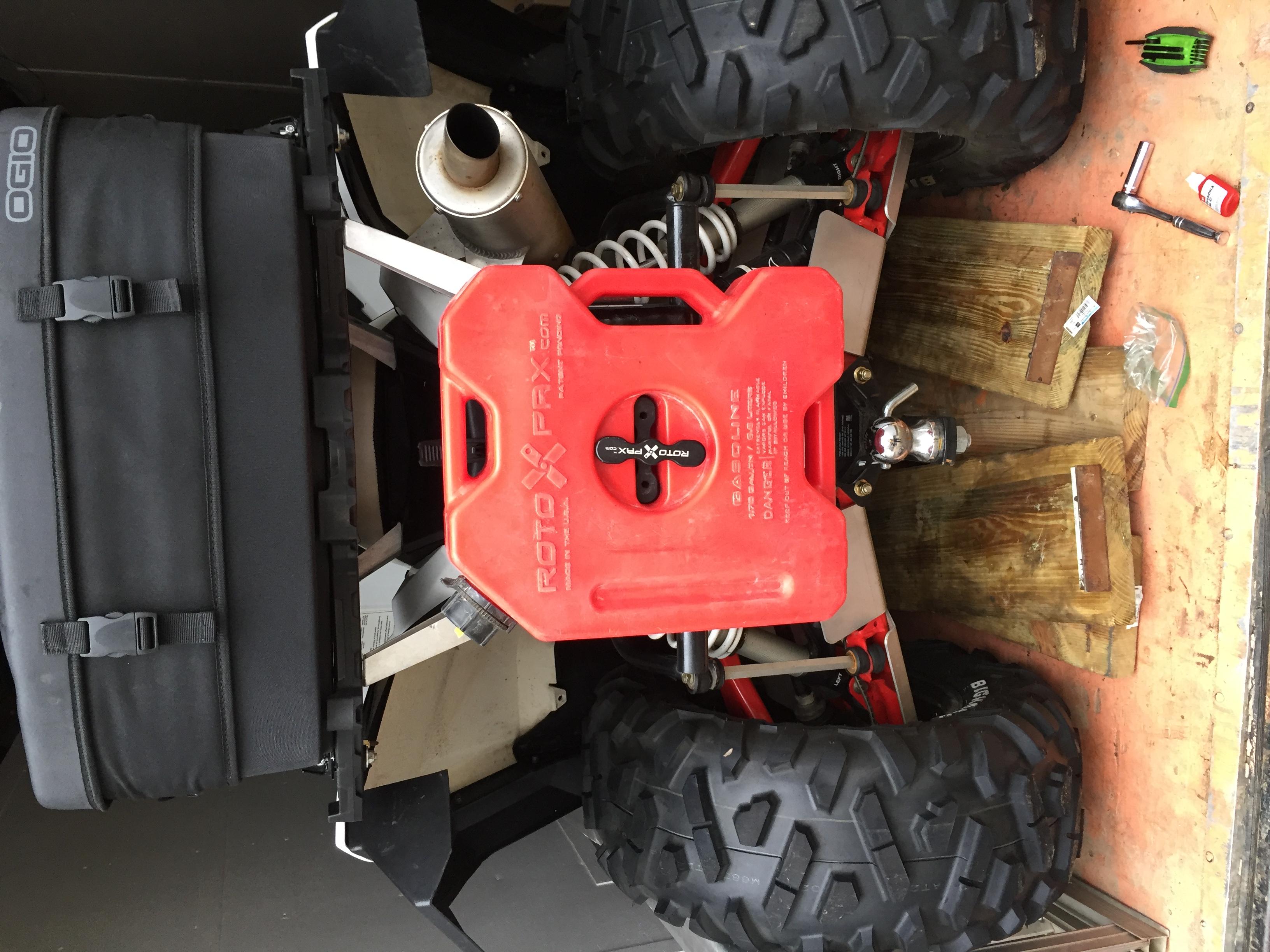 rotopax tank fuel scrambler polaris rear installed 1000 atv xp posts