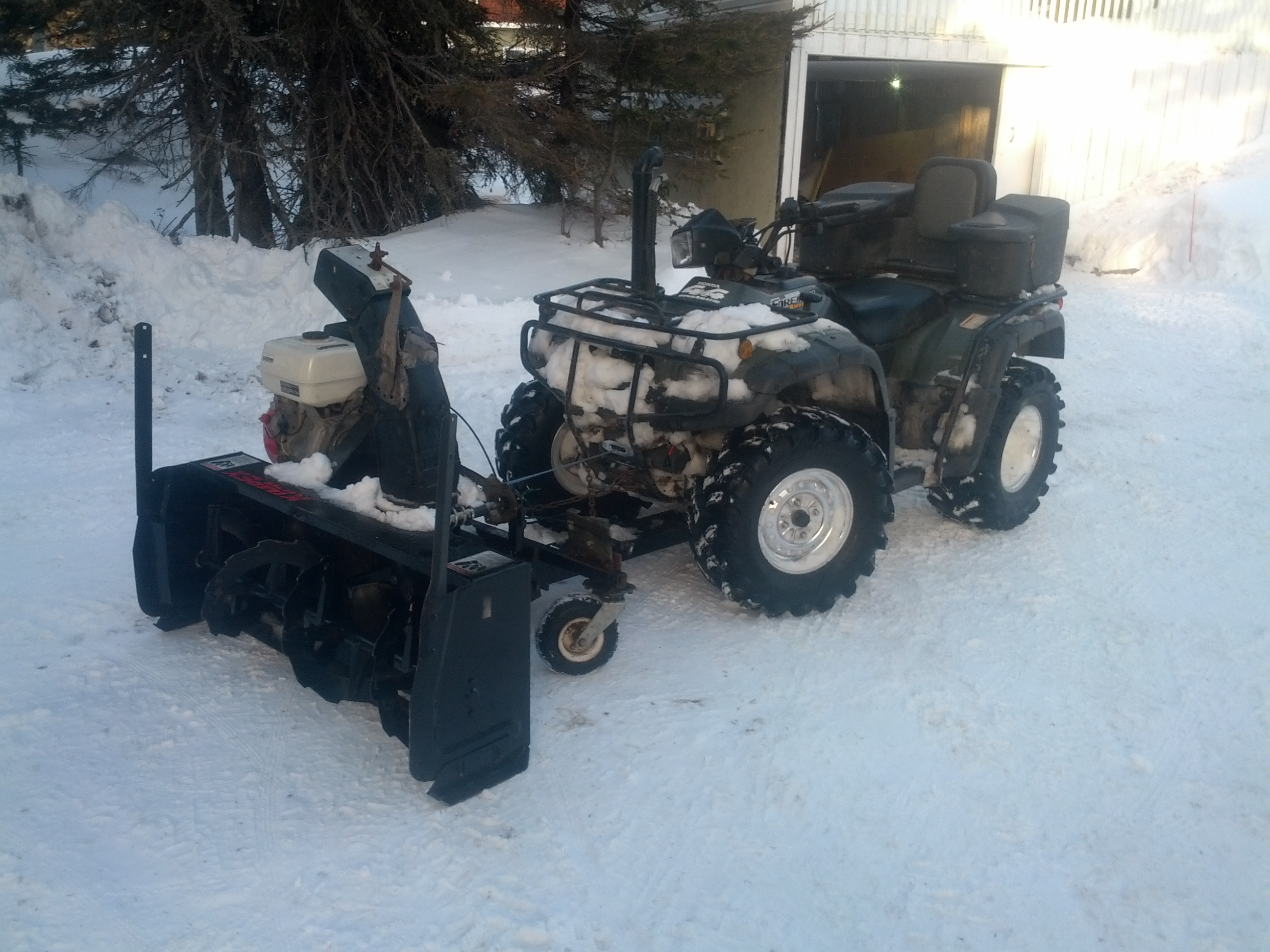 Atv Snow Blower Kits : Honda atv snowblower attachment