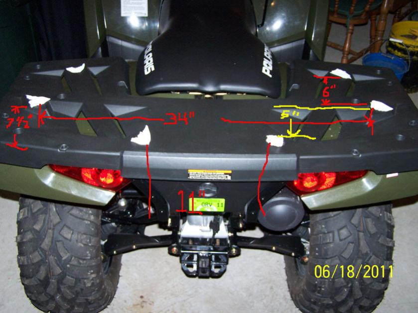QuadBoss ATV Backrest Mounts to Rear Rack Polaris Sportsman 850 ATV All Years