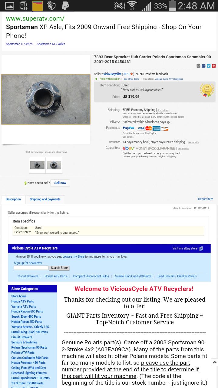 Rear disc brake conversion - Polaris ATV Forum