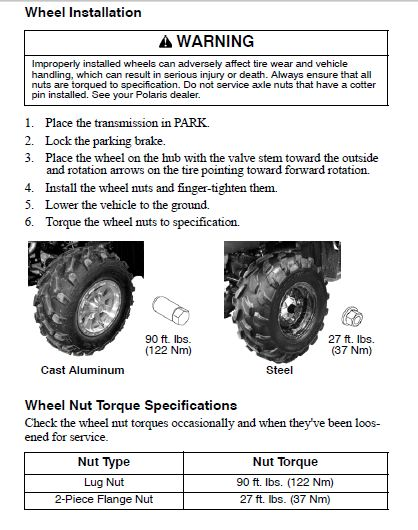 Wheel Nut Torque - Polaris ATV Forum