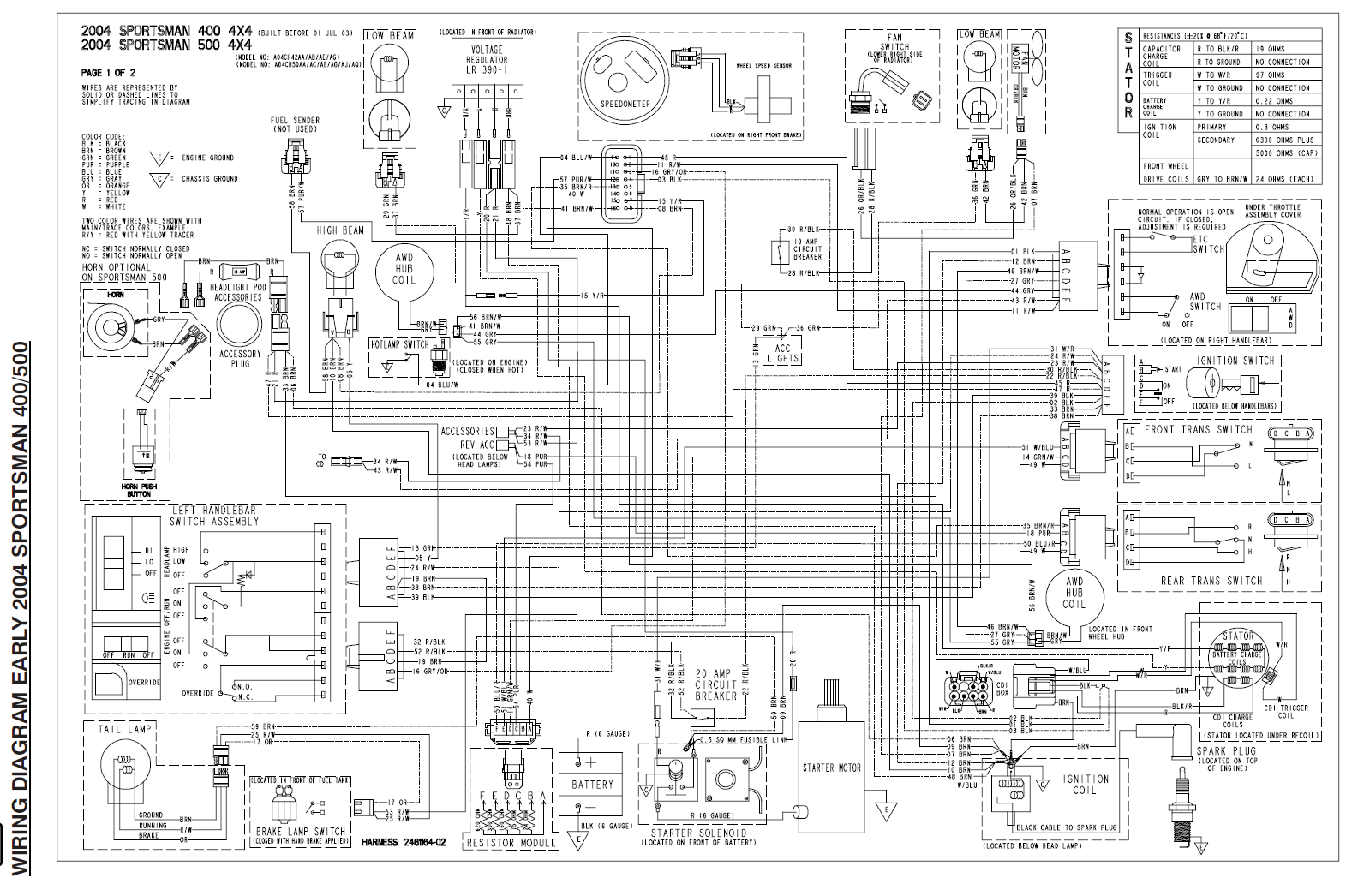 Sportsman 500 wiring diagram | Polaris ATV ForumPolaris ATV Forum